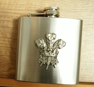 welsh feathers hip flask